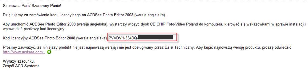licencyjnego na acdsee photo editor 2008 con la vostra licenza