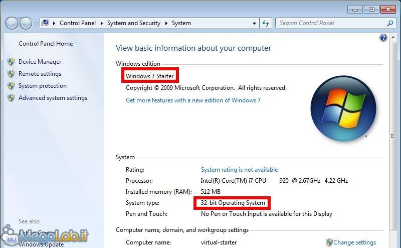 windows 7 starter download ita