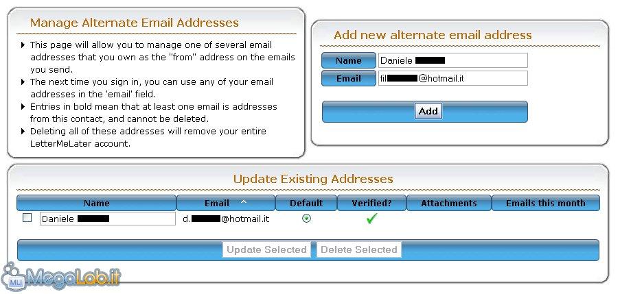 Pianificare l'invio delle e-mail con LetterMeLater.com [MegaLab.it]